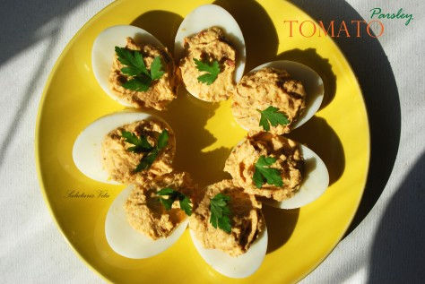 tomato parsley devilled eggs