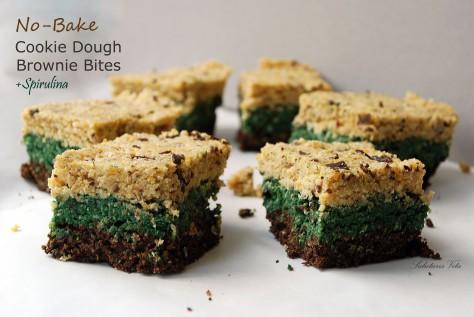 no bake cookie dough brownie spirulina bites