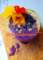 Protein smoothie inside cantaloupe 5CSSV